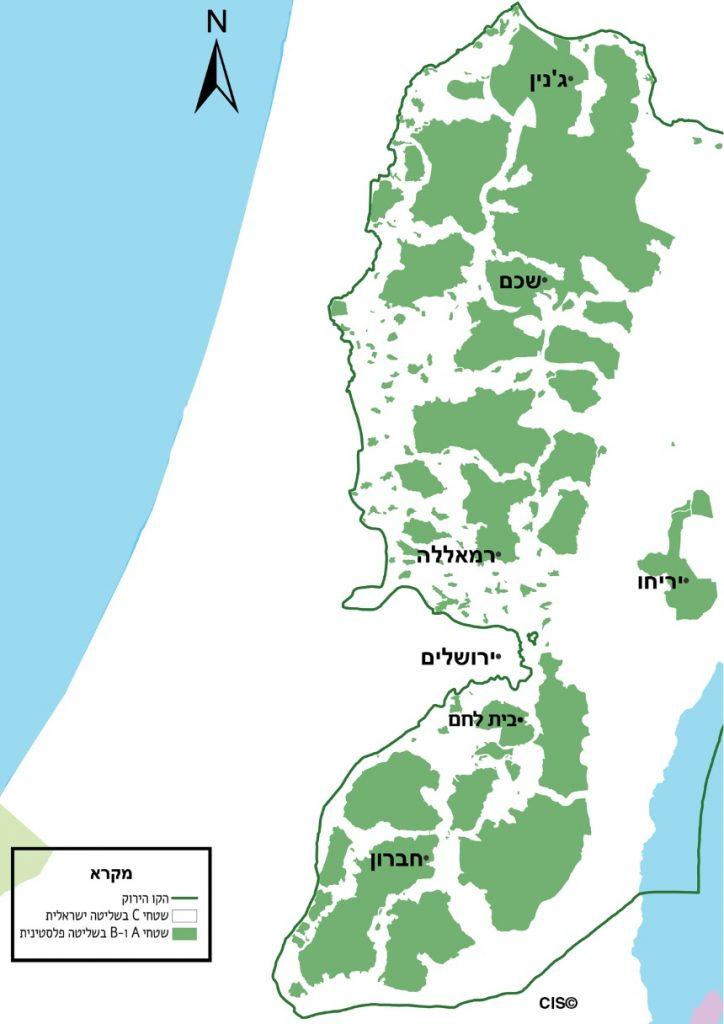 פריסת ההתיישבות הפלסטינית בגדה המערבית