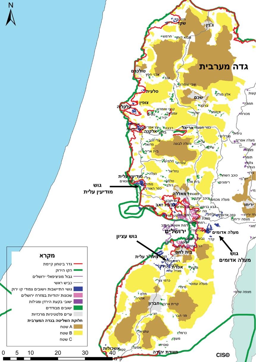 מפת ההתיישבות בגדה המערבית